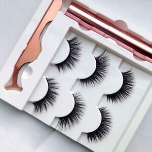 3 Pairs Magnetic Eyeliner With EyeLashes & Tweezer RoseGold Set Waterproof 🇬🇧