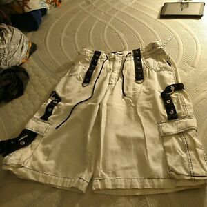 Tripp NYC Rave Goth Baggy Fit Cargo Shorts Size Large White