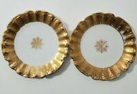 """Antique Limoges France gilded set of 2 Plates 8"""""""