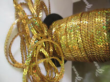 70 METER  PAILLETTEN SEQUENCE Gold Glanz Borte Spitze BAND 4mm GOLD HOLO !!!