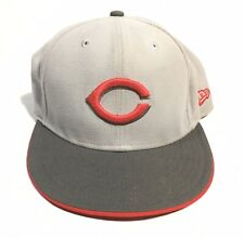 Cinncinnati Reds Hat MLB New Era 59FIFTY Cap Gray Fitted Size 7 1/8
