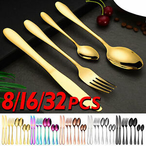 8/16/32PCS Cutlery Stainless Steel Flatware Tableware Set with Knife Spoon Fork