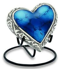 Grecian Blue 3 Cubic Inches Heart Keepsake Funeral Cremation Urn For Ashes