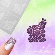 Schablonen für Airbrush und Nailart MU076 Blüte Blume Rose French Muster klebend