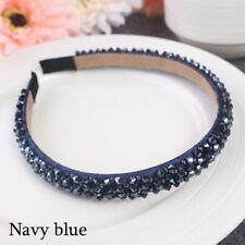 Bridal Children Crown Headwear Ornament Crystal Headband Rhinestone Hair Band Navy Blue