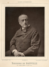Théodore de Banville  Vintage print.Théodore Faullain de Banville, né le 14 ma
