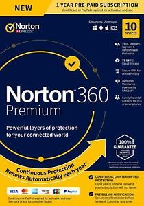 Norton 360 2021 Standard Deluxe Premium 1PC, 3PC, 5PC, 10PC 1 Yr Antivirus EU UK