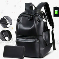 Fashion Mens PU Leather School Backpack Waterproof Laptop Travel Bag BL