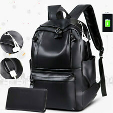 New Fashion Mens Leather School Backpack Waterproof Laptop Travel Bag BL