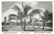 Florida, FL, Fort Myers, Edisonian Court Postcard