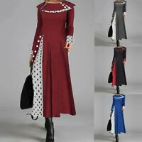 Women Polka Dot Print Contrast Color Long Sleeve Evening Party Maxi Dress Chic