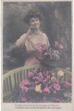 Unused postcard ~ The language of flowers with mis-printed reverse!!