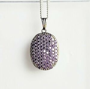 33x19mm Luxury 5.4g Purple Amethyst Silver Pendant