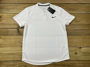 NWT Nike Court Slim Fit Blade Collar Polo Shirt Sz L AQ7732-100 Dri-Fit White
