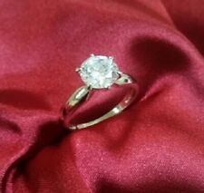 Promise Ring White Gold ov Sz 8 1.75 Ct Round Brilliant cut Solitaire Engagement