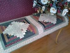 Log Cabin Multicolor Handmade Wall or Table Cover-100% Cotton Machine Quilted
