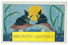 Vtg HALLOWEEN POSTCARD WITCHES SILHOUETTES on MUSHROOMS MOON Whitney