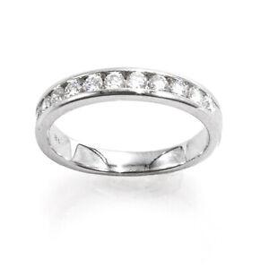 Half Diamond Wedding Band 18k White Gold Round Channel Setting Ring .6 CT size 6