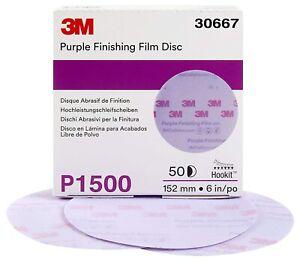 """3M 30667 6"""" 1500 Grit Purple Finishing Film Hookit Disc 50 Per Box"""