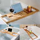 HOT Bathroom Bamboo Bath Caddy Wine Glass Holder Tray Over Bathtub Rack Support
