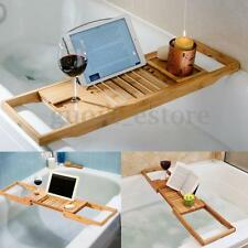 HOT Bathroom Bamboo Bath Caddy Wine Glass Holder Tray Over Bathtub Rack Support