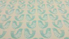Scandi aves Aqua Cortina Craft tapicería de diseño de tejido de algodón