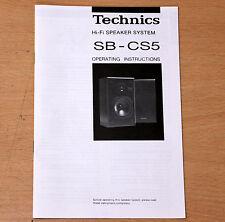 Technics SB-CS5 manual del usuario del propietario original altavoces