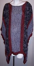 Tienda Ho Top OS Boho Hippie Flowy Rayon Tunic Shirt Lagenlook Blouse Free Size