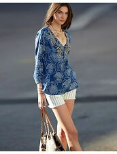 LUCKY BRAND BLUE BEADED EMBELLISHED BOHEMIAN TUNIC TOP NWOT SIZE XS