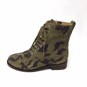 NEW Lucky Brand Hestawn Suede Camo Lace Up Combat Boots Womens 6M