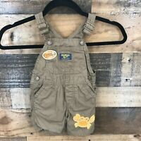 Oshkosh Baby Boys Brown Beach Life Crab Shortalls Short Overalls Size 12 Months