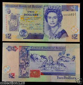 BELIZE Paper Money 2 Dollars 2011 UNC