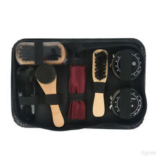 Outdoor Travel Boot Shoes Shine Care Set Wooden Polish Brush Kit Cleaning Too fk