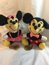 Vintage Mickey Mouse Pink Bow Plush Stuffed Toy Walt Disney Productions