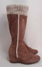 A.N.A. Knee High Wedge Boot Women size 8 M Brown Suede Sweater Top