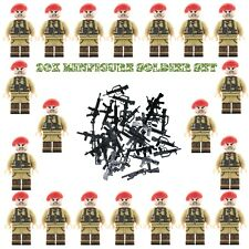 WWII Red Beret Soldiers + Weapons Mini Figures WW2 Military War Set Fit Lego