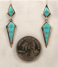 Handmade Native American Zuni Inlay Turquoise and Sterling Silver Post Earrings