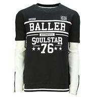 Soul Star New Men's Baller 76 Printed Gym Crew Neck Sweatshirt White & Black Top