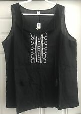 OLD NAVY BLACK EMBROIDERED TRIBAL LINEN TANK TOP SHIRT SIZE XXL NWT