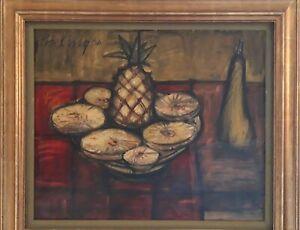 """Huile sur toile Franz Priking """"Nature morte à l'ananas tranché"""" 15 Figure"""