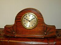 Antique F.H.T. Art Deco Tiger Oak Mantel Clock with Engraved Sunburst Design