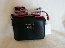 "Melie Bianco Black with Red Trim Leather Hand Bag ""Maya"""