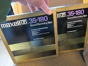 "2 LOT of MAXELL MODEL UD35-180. USED. 10.5"" METAL REEL-TO-REEL. 1/4"" TAPE. JAPAN"