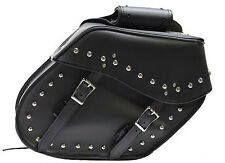 MEDIUM SIZE QUICK RELEASE MOTORCYCLE PV LEATHER SADDLEBAGS w/STUDS UNIVERSAL FIT