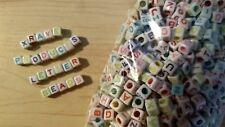 1000 LETTER BEADS - Color - 6mm - Cube Square Alphabet Jewelry Kandi Bracelet
