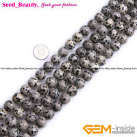 "AB Grade Natural Dalmatian Gemstone Loose Beads Strand  15"" Round Multi Smooth"