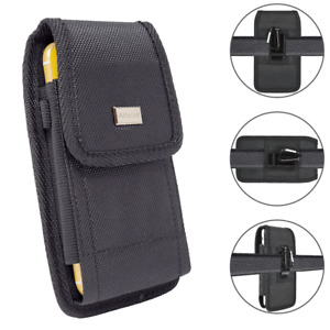 For ZTE Blade 10 Prime,Blade A7 Prime Rugged Holster Pouch Nylon Metal Clip Case