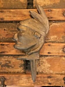 Antique Vintage Cast Iron Native American Indian Head Windmill Weight