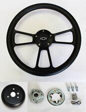 "Black on Black Steering Wheel fits Ididit & Flaming River Column 14"" Bowtie Cap"