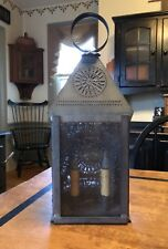 Antique Reproduction Wall / Table Electric Punched Tin Lantern